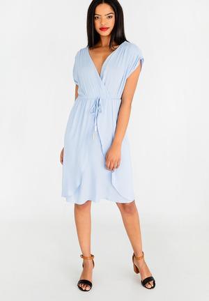 Mock wrap dress with draw-cord - blue