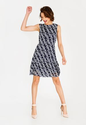 1048c0f0c5e7 Sleeveless All-over Print Dress Navy