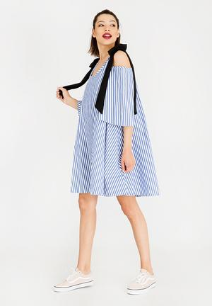 Cold Shoulder Swing Dress Blue