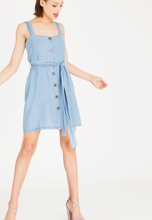 Mini Front Button Dress Blue