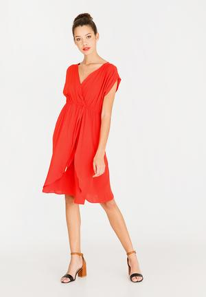 Mock wrap dress with draw-cord - orange