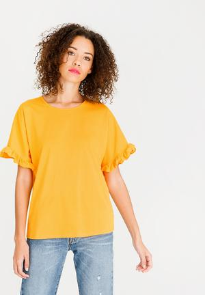 Frill Sleeve T-Shirt Yellow