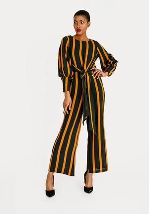 Self-tie Cuffed Jumpsuit Multi-colour