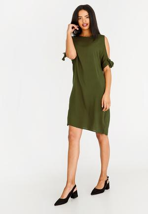 4c6afb635a3 Tie Sleeve Dress Green