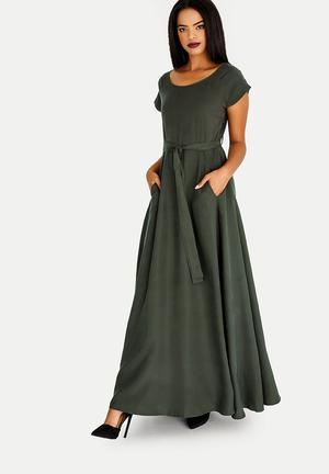 f7ea750a54 Elisa Satin-like Dress Green. By AMANDA LAIRD CHERRY R1295. Quick View. Katya  Belted Maxi Dress Dark Green