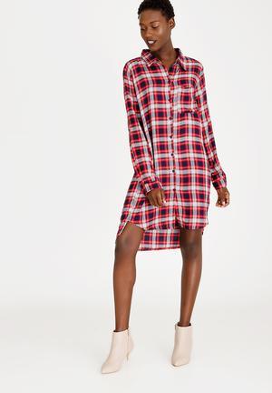 e95ec23ce690 Hi Lo Shirt Dress Red