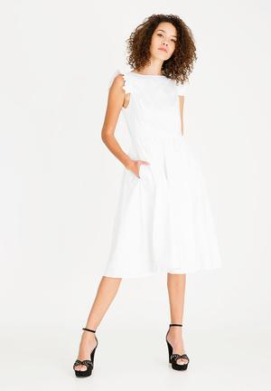 Structured Fit And Flare Dress White