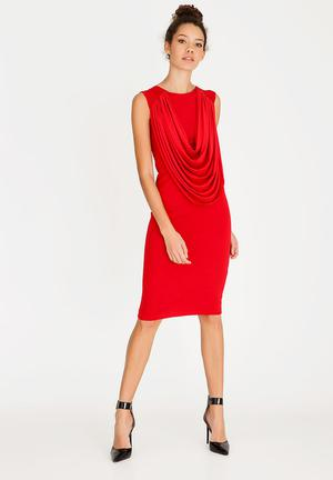 Pencil dress with drape - red 4285fc412