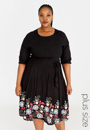 ba2df9e13a By AMANDA LAIRD CHERRY R1399. Quick View. Morgan Floral Embroidered Dress  Black