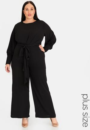 Self-tie cuffed jumpsuit - black