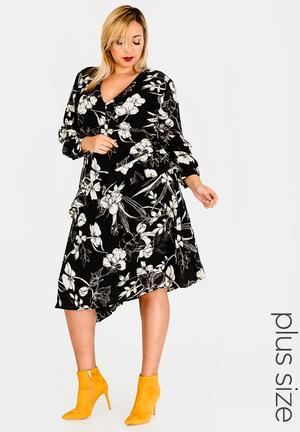 Cross Over Cuff Midi Dress Black