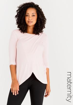 7096e16a1b746c Nursing Top with Lace Hem Detail Pale Pink