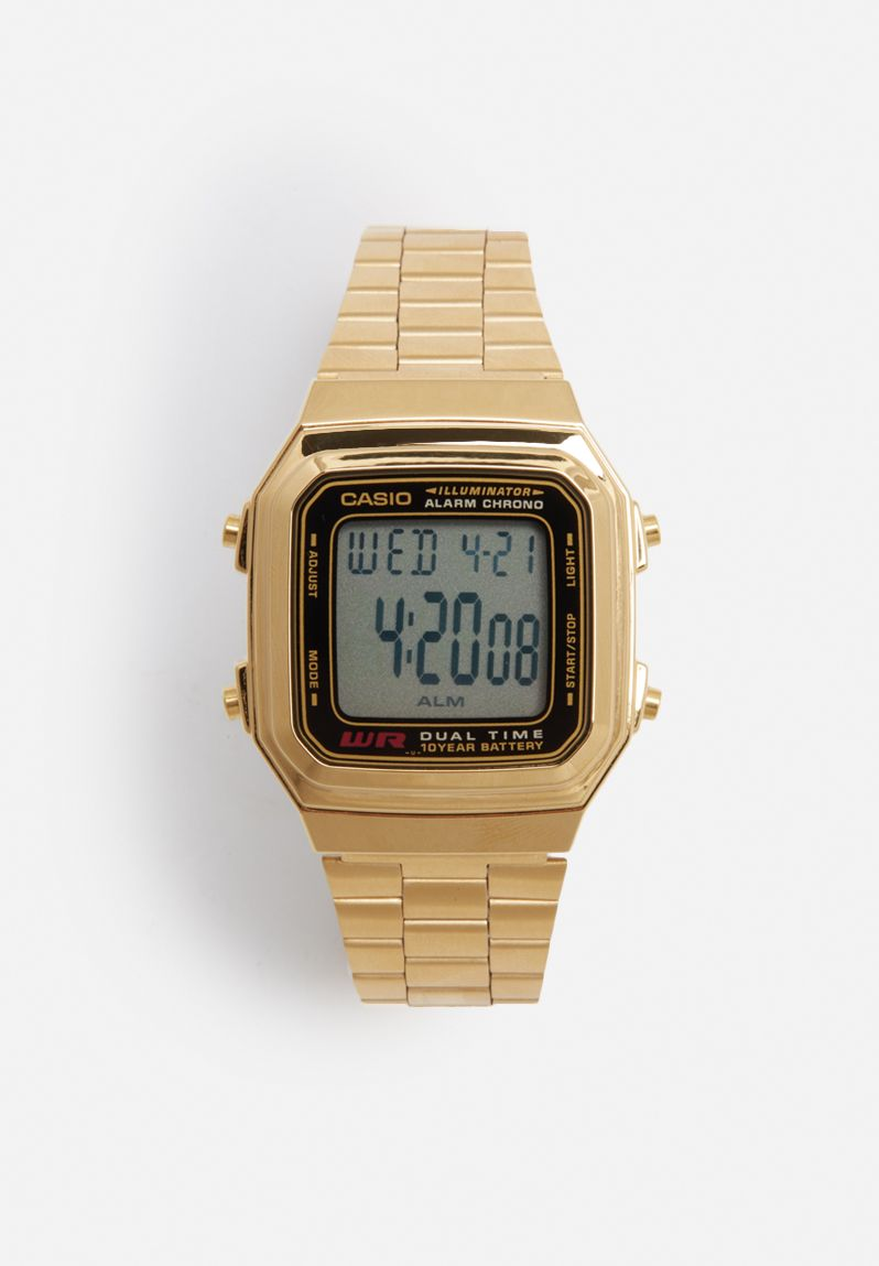 Wide LCD backlight watch - gold