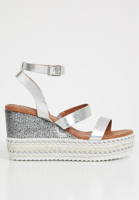 2e99de4cf1cd By Footwork R599. Stud detail ankle strap wedges - silver