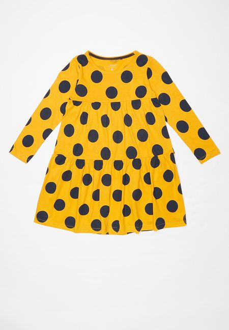 one navy /& one yellow Minoti 2 pack of spotted sleeveless cotton dresses