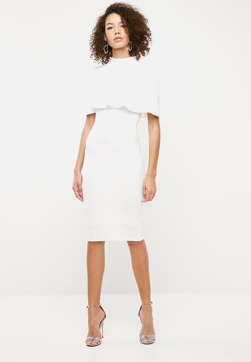 f9b5891dd610 Over frill shoulder midi dress - white Missguided Occasion ...