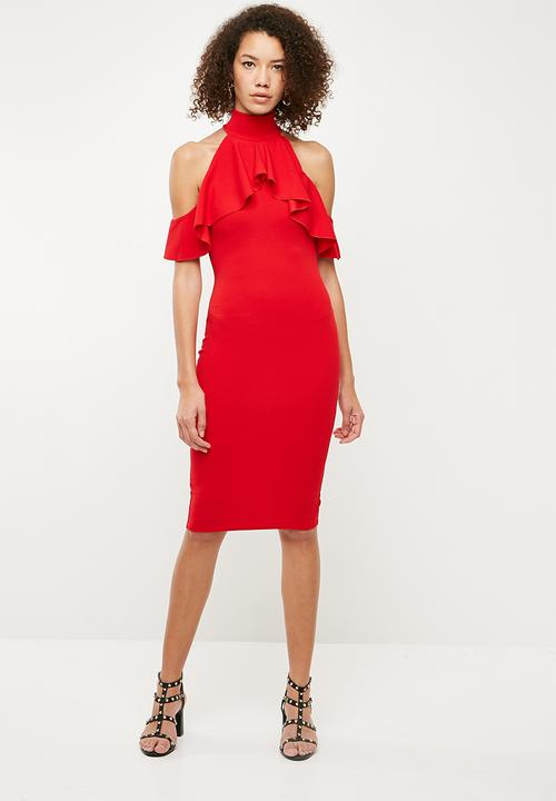 03c348d6b66 High neck frill cold shoulder midi dress - red Missguided Occasion ...