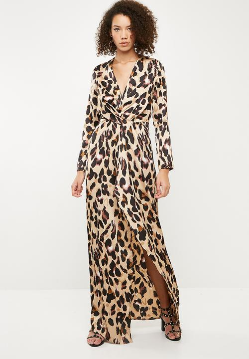 6dcdc9f44270 Leopard print wrap front shift maxi dress - gold Missguided Occasion ...