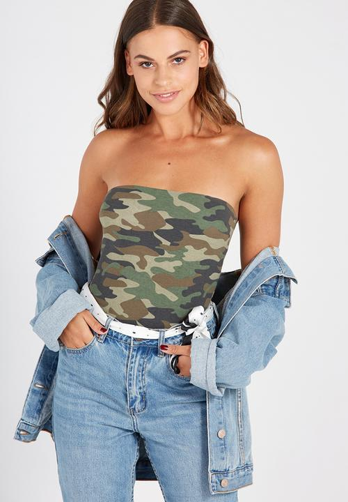 4eff2598a17b Printed long boobtube built in bra - old camo Supré T-Shirts, Vests ...