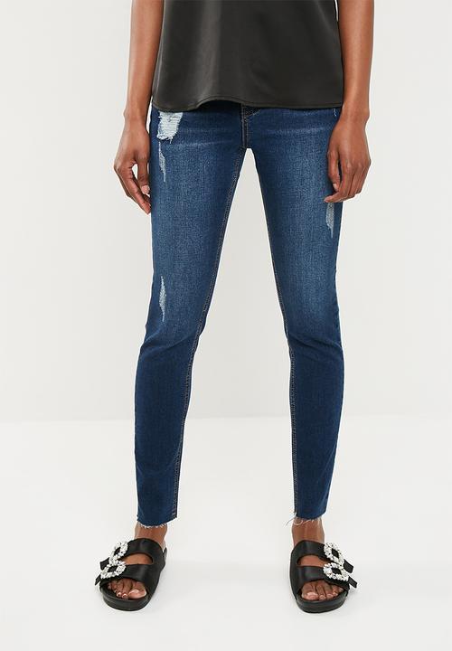 af17846d4eab9 Sinner clean distressed skinny - deep blue Missguided Jeans ...