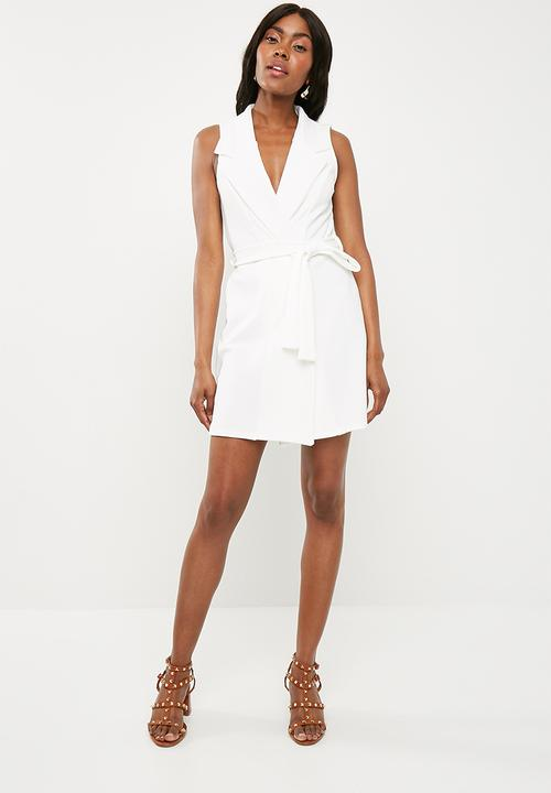 Sleeveless blazer shift dress - white Missguided Occasion ... 9b05058d2