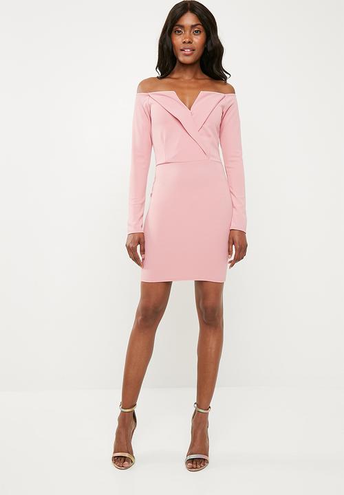 820bedeedddb Bardot foldover wrap dress - pink Missguided Occasion | Superbalist.com