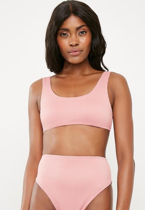 6b93525b40 Rib sport crop bikini top mix and match - blush Missguided Bikinis ...