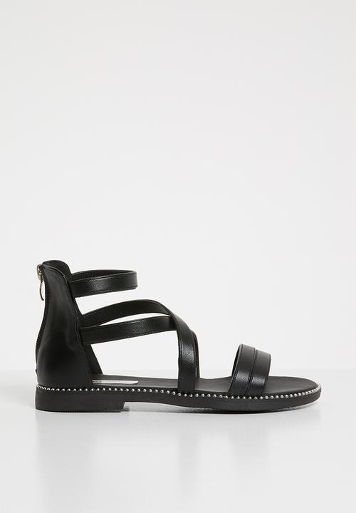 c1643fd8808c Gladiator flat sandal - black POP CANDY Shoes