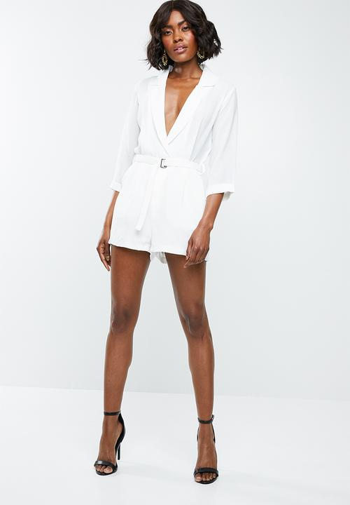 2324745c85 Wrap blazer playsuit - white Missguided Jumpsuits   Playsuits ...