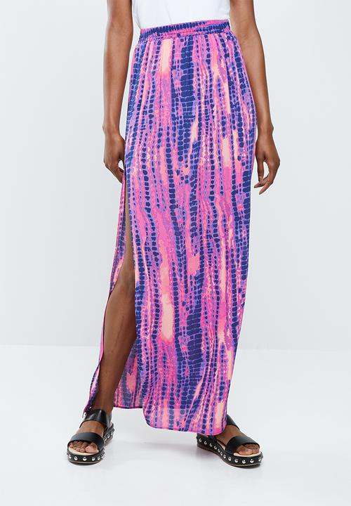 e61b4d0acf Tie dye maxi skirt - purple, pink & blue Missguided Skirts ...