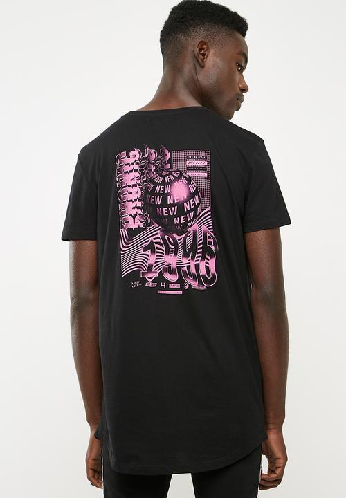 f6711ed6b32 Curved hem longline tee printed - black Superbalist T-Shirts   Vests ...
