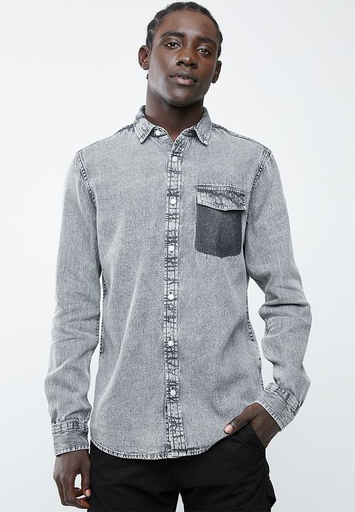 3694ae84dbb Neville long sleeve pocket denim shirt - grey Only & Sons Shirts ...