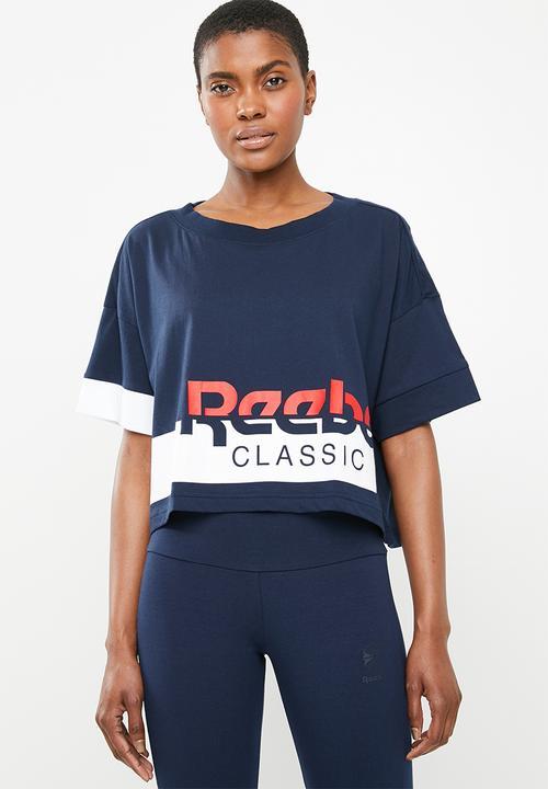 e0267f8dfe616f Cropped tee - navy   white Reebok Classic T-Shirts