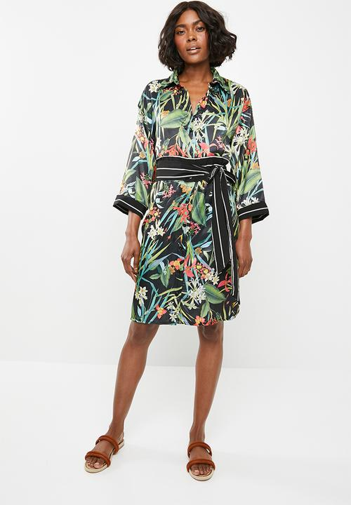 4c0a0aba0ea Shirt dress with contrast belt - black floral STYLE REPUBLIC Formal ...