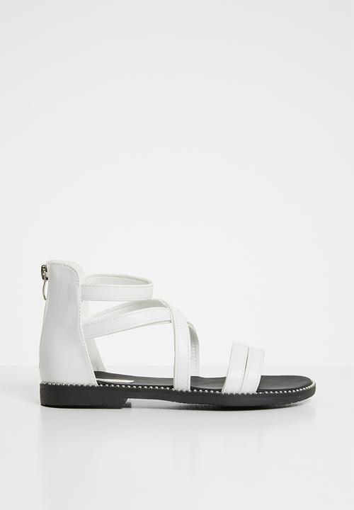a52224bff Kids gladiator flat sandal - white POP CANDY Shoes