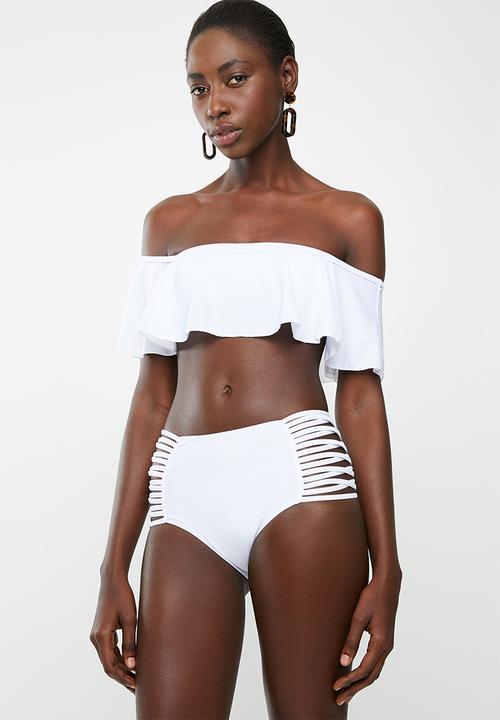 a8a39e21aa Frill bardot bikini set - white Lithe Bikinis