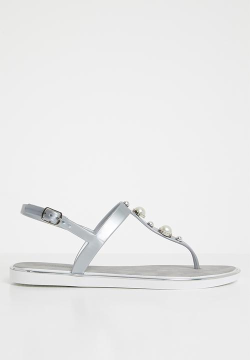 ded60fddf Marwa Thong Sandals Silver Miss Black Sandals   Flip Flops ...