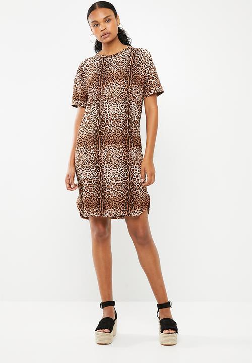 3e31a32e2dab Plain T-shirt dress with rolled sleeve - leopard print Superbalist ...