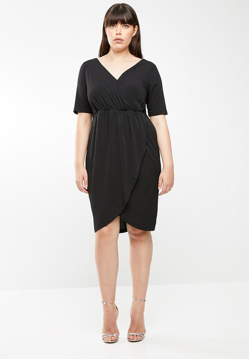 0af2bc30b3 Cross over wrap dress - plus size - black STYLE REPUBLIC PLUS ...