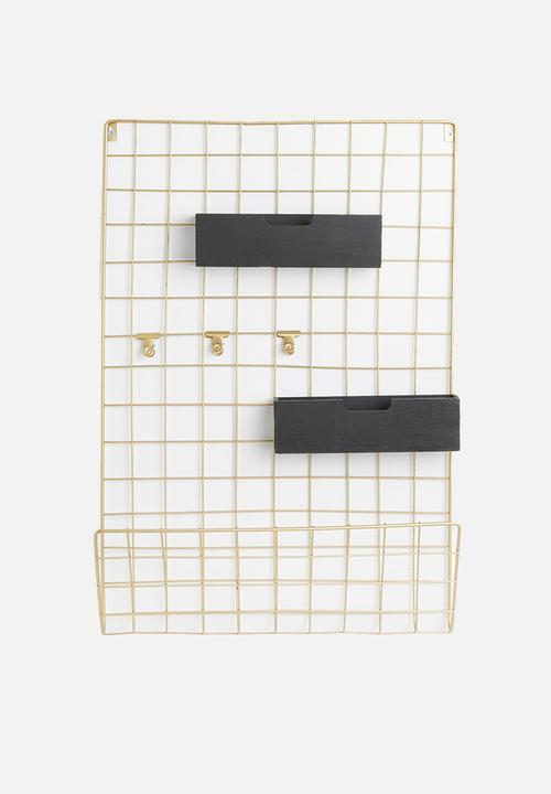 Grid Memo Rack   Gold & Black Wood by Present Time