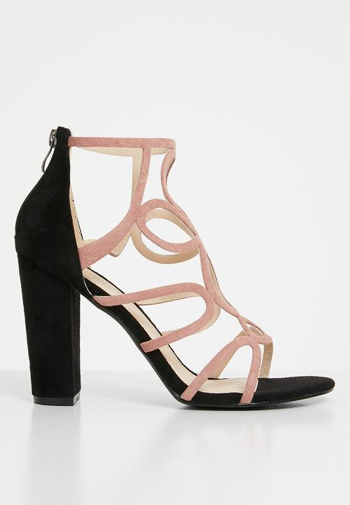 7c4abb938 Cut-Out Heels Pale Pink Black Plum Heels
