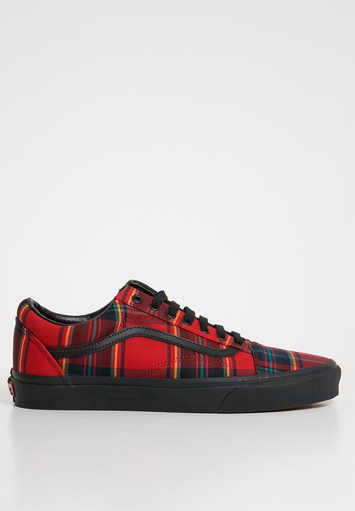 58b6d4b8a7 vans Old Skool Plaid Mix - Red Black Vans Sneakers