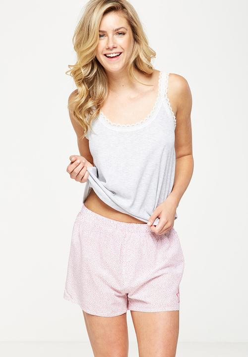 4d3494d7a452fe Rib lace tank top - grey marle Cotton On Sleepwear