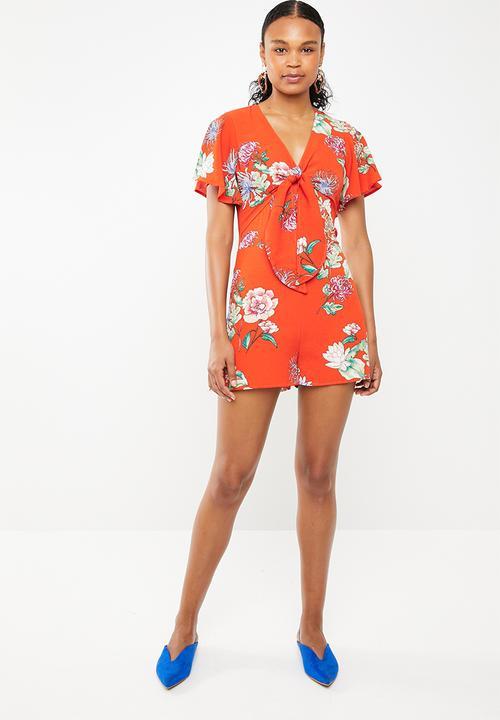20c9052e2bb7 Tie front floral jumpsuit - orange STYLE REPUBLIC Jumpsuits ...