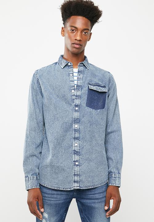 8c202241891 Neville pocket denim shirt - blue Only   Sons Shirts