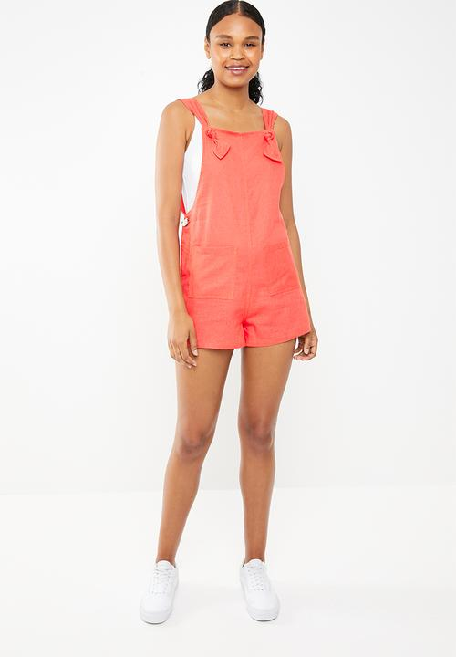 784b619cab2 Linen romper - coral Superbalist Jumpsuits   Playsuits