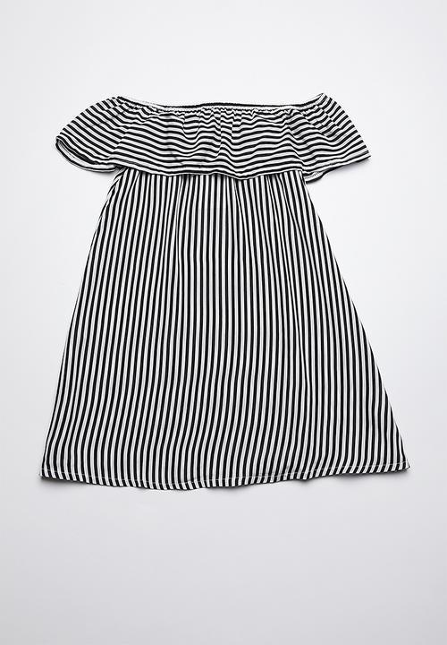 70c864a6a7d9 Bardot frill dress - black   white stripe Rebel Republic Dresses ...