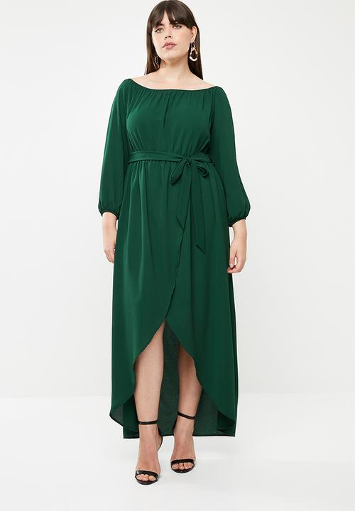 3a7f19fd9666 Bardot neckline long sleeve dress - green edit Plus Dresses ...