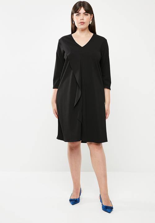 Front frill detail dress - plus size - black edit Plus Dresses ... dc75c7ddb