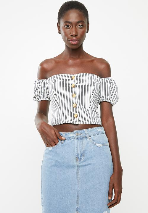 a47463fb59534 Front button bardot top - pale blue STYLE REPUBLIC Blouses ...